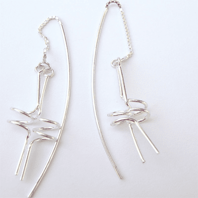 Simple Spiral/Stick Thread String Sterling Silver Earrings