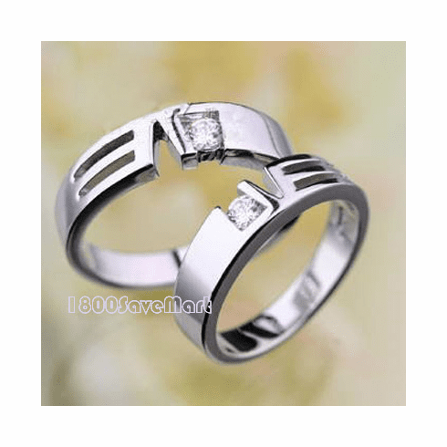 Sparkling CZ Inlay Sterling Silver Love Ring Two Sets RYAC