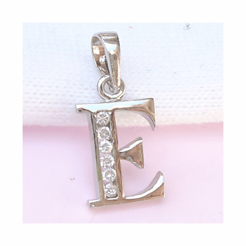 Sterling Silver CZ Initial Pendant Letter E