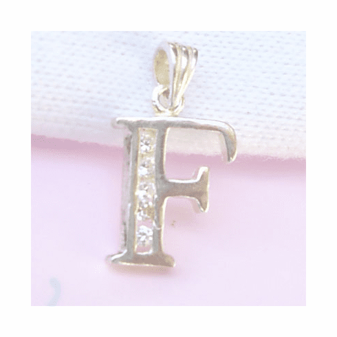 Sterling Silver CZ Initial Pendant Letter F