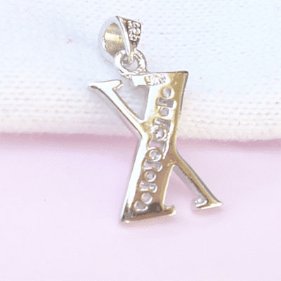 Sterling Silver CZ Initial Pendant Letter X