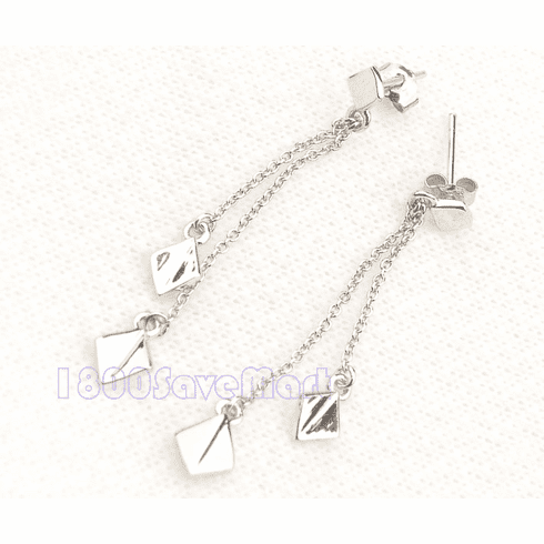 Sterling Silver Double Square  Drop Earrings