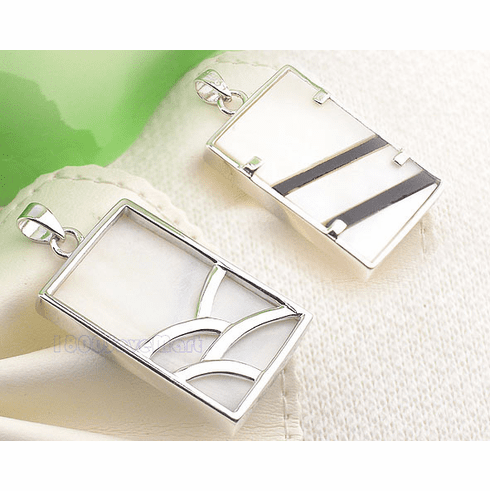 Stylish Mother Of Pearl Inlay Rectangle Silver Slide Pendant