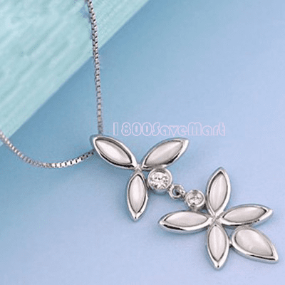 Sweet White CZ Two Flower Sterling Silver Pendant PYAG