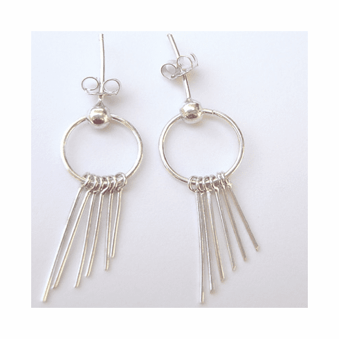 Trendy Chandelier Hoop Stick Sterling Silver Earrings