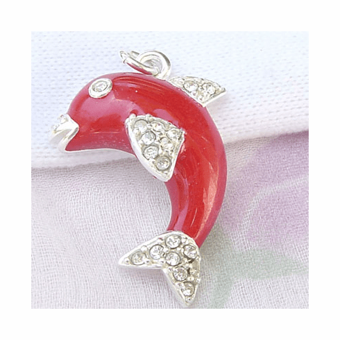 Trendy Red Enamel Dolphin Sea Life Sterling Silver Pendant