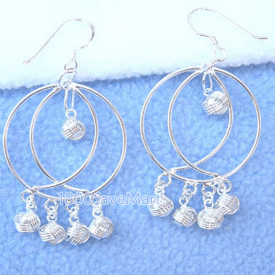 Twin Round With ball Dangle Sterling Silver Earrings