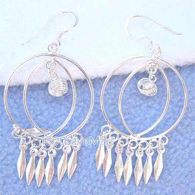 Twin Round With Leaf Dangle Sterling Silver Earrings