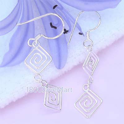 Twin Square Spiral Dangle Sterling Silver Earrings