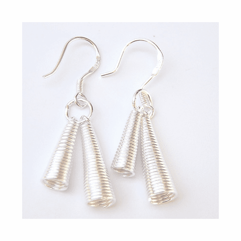 Twist Rope Double Tube Strlng Silver Dangle Earrings