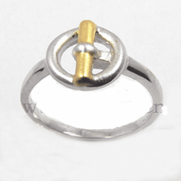 Two-Tone Gold/Sterling Round Silver Ring - RJ180