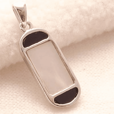 Unique Rectangle Inlay White & Black Sterling Silver Pendant�
