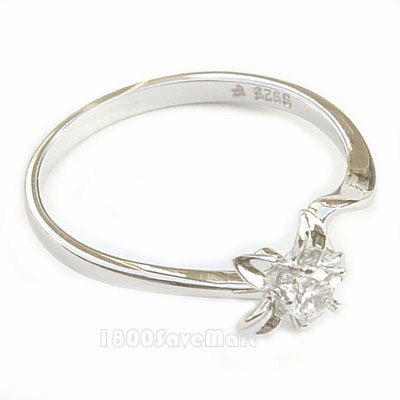 White CZ Cubic Zirconia Flower Sterling Silver Ring