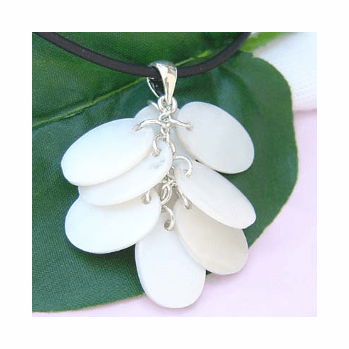 White Oval Shell Cluster Sterling Silver Pendant