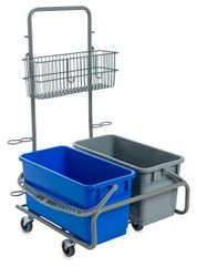 Compact Mop Cart w/ Two Buckets Side-by-Side