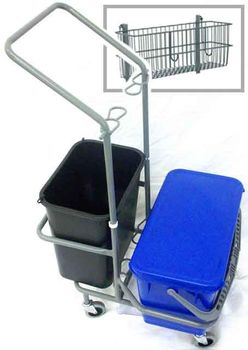 Compact Mop Cart w/ Two Buckets Front-Back