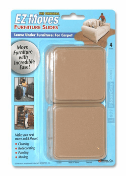 "EZ Moves 3"" Square Permanent Slides, BEIGE (set of 4)"