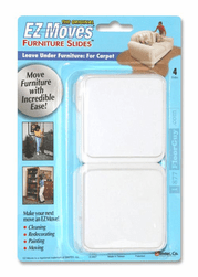 "EZ Moves 3"" Square Permanent Slides, WHITE (set of 4)"