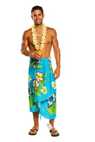 Sarong for Men, Hawaiian Cover-Up Sarong in Turquoise