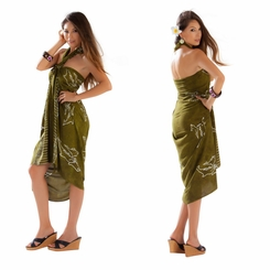 1 World Sarongs Womens Mono Colored Batik Sarongs in Olive Green