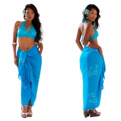1 World Sarongs Womens Mono Colored Batik Sarongs in Turquoise