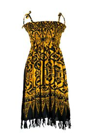 Tube Top Sundress Abstract Tribal  in Goldish Brown