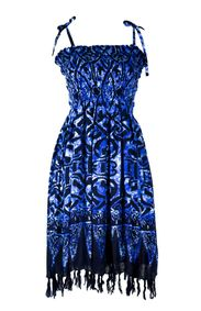 Tube Top Sundress Abstract Tribal in Blue