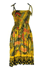 Tube Top Sundress With Traditional Motif Brown Green