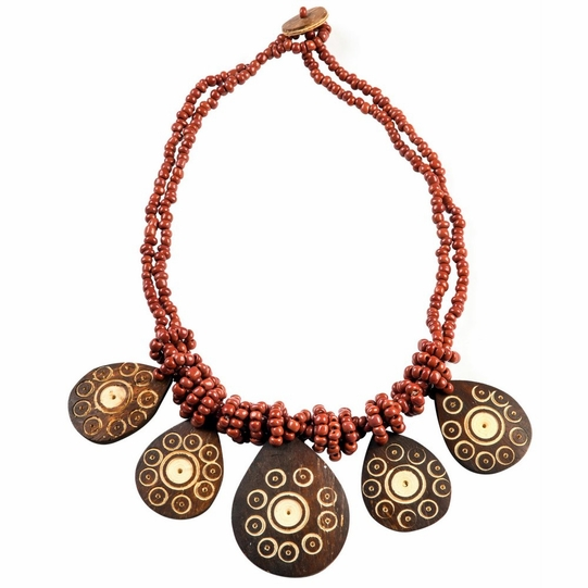 2 Beaded String Necklace with Pear Coco Pendant in Brown