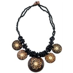 2 Beaded String Necklace with Round Coco Pendant in Black