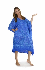 Abstract Floral Fringeless Long Kaftan Poncho Kaftan in Light Blue