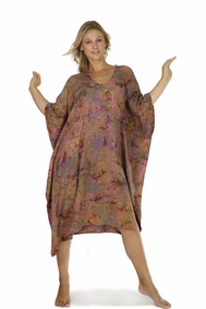 Abstract Floral Fringeless Long Poncho Kaftan in Brown