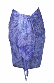 Abstract Floral Leaf Half Sarong in Lavender