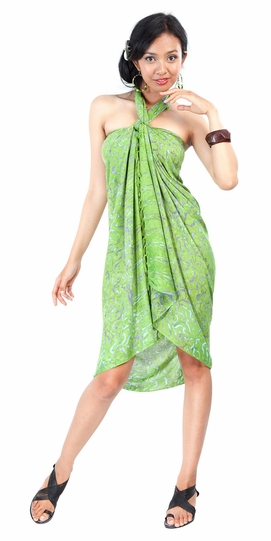 Abstract Floral Leaf Sarong in Green