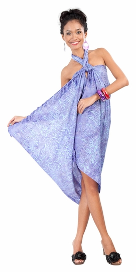 Abstract Floral Leaf Sarong in Lavender - Call to Order