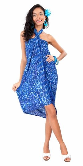 Abstract Floral Leaf Sarong in Royal Blue