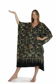 Abstract Floral Long Kaftan Poncho Kaftan Bohemian Brenda Orange Pink and Black