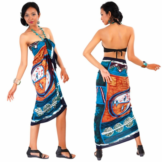 Abstract Graphic Design Sarong in Brown
