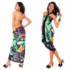 Abstract Graphic Design Sarong in Light Green