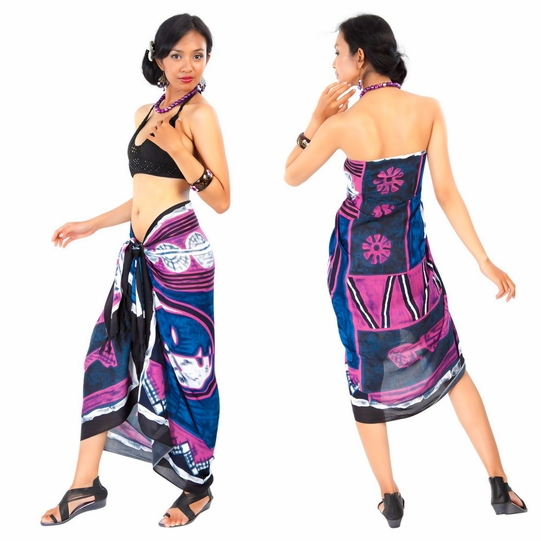 Abstract Graphic Design Sarong in Purple/Blue