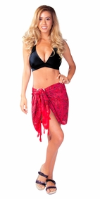 "Abstract Half Sarong ""Sensual Selena"" Red and Black"