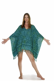 Abstract Leaf Fringed Poncho in Green