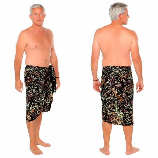 Abstract Leaf Mens Sarong in Black
