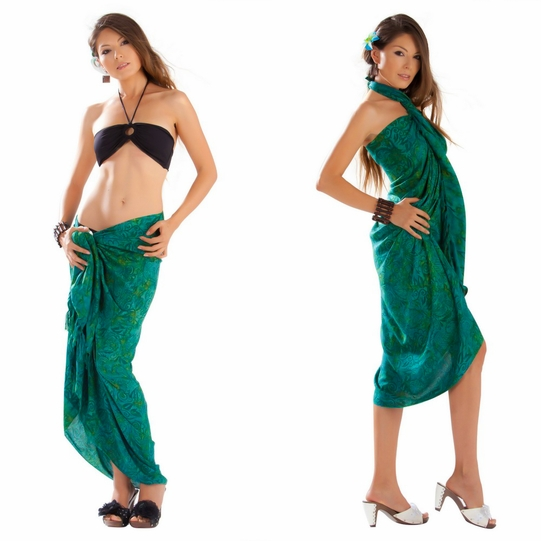Abstract Leaf Sarong in Green