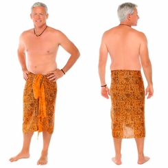 Abstract Mens Sarong in Orange