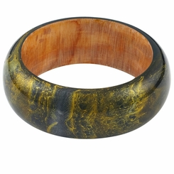 Abstract Painted Wood Bangle in Black