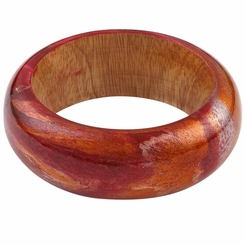 Abstract Painted Wood Bangle in Burgundy