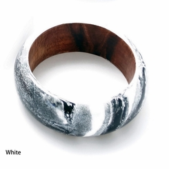 Abstract Painted Wood Bangle in White