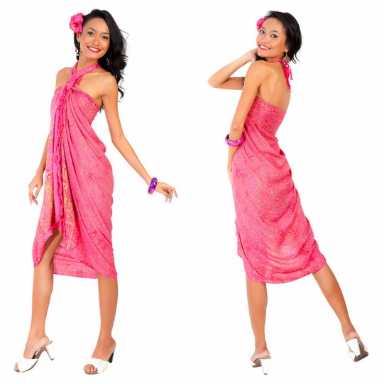 Abstract Sarong in Pink/Gold