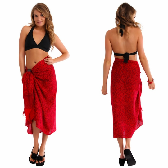 Abstract Sarong in Red